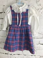Vintage Her Majesty Overall Dress Pink Plaid Flannel 2 Piece White Collar Eyelet