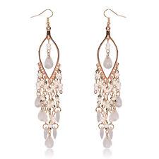 Amazing Long White Gold Plated Tassel Dangle Bead Tear-Drop Earrings Jewelry