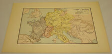 1885 Antique Map of Central Europe About 980Ad