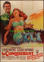 THE CONQUEROR MOVIE POSTER FRENCH ONE PANEL 47x63 JOHN WAYNE SUSAN HAYWARD 1956