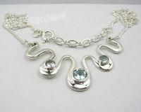 "925 Sterling Silver Genuine Fiery BLUE TOPAZ ART Chain Necklace 17 1/8"""