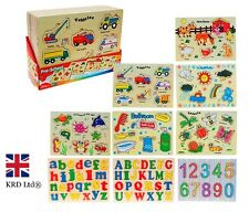 WOODEN PUZZLE Jigsaw Kids Child Learning Educational Toy Birthday Preschool Gift