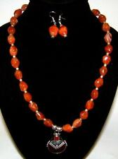 Bead Necklace Carnelian Pendant Earrings Victorian Sterling Silver Faceted Agate