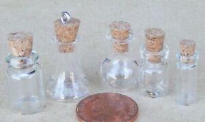 1:12 Scale Potion Bottle Set Of 5 Jars Witch Tumdee Dolls House Kitchen Storage