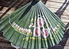 Antique Canvas Umbrella Bamboo Parasol  Wood Hand Painted Artisan green flower