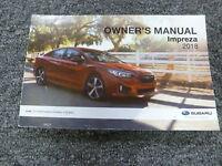 2018 Subaru Impreza Owner Manual User Guide 2.0i Sport Limited WRX Hatchback