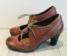 Marks and Spencer M&S Footglove Court Shoes Size 4 Laces Brown Block Heel Studs