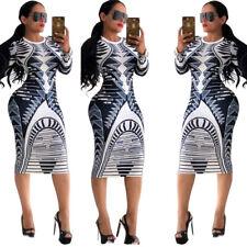 Robe longue moulante imprimée manches longues sexy stretch motifs blue géométrie