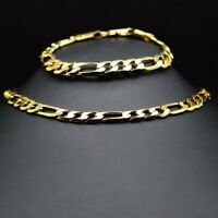 18k gold plated jewellery for men chain man and bracelet pattern set 9 mm width