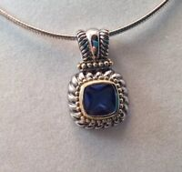 Vintage Southwestern Sterling Silver Gold Accents Blue Faceted Stone FAS Pendant