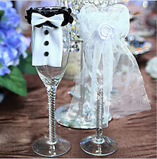 BrideGROOM Tuxedo Wedding Glass Wine Toasting Flutes Cover Decoration