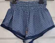 PALOMA BLUE Blue White 100% Silk Printed Elastic Tie Waist Summer Shorts M BNWT
