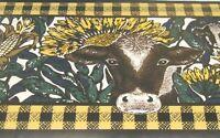 Wallpaper Border Rustic Cows Sunflower Corn Farm Country 428 Black Yellow NEW