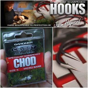 GARDNER COVERT DARK SPECIALIST SHARPENED CHOD HOOKS SIZES 5 / 6 - CARP FISHING