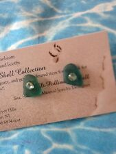 NATURAL  Surf Tumbled TEAL Sea Glass From SPAIN Sterling Silver Post Earrings