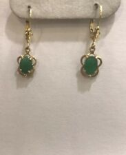 Dangle Level Back Earring 1.55M 14k Solid Yellow Gold Oval Emerald