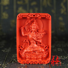 Natural Red Cinnabar Carved Lacquer Chinese Happy Buddha Pendant For Necklace