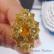Vintage Hollywood Look YELLOW FLOWER SHAPED GOLD RING CRYSTAL STYLE STONES