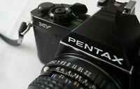 Black Asahi Pentax MV 35mm Film Camera c/w Pentax-M 1:2 50mm Lens, Leather Case