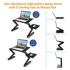 New listing Portable Table for Laptop Bed Tray Table w/ Mouse Pad Plate & 2 Cooling Fan Y2N2