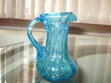 """Blue  Bubble Glass Hand Blown Small 3 """" Tall Pitcher -  Blue Applied Handle"""