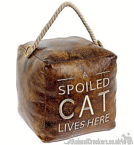 Heavy brown faux leather 'A Spoiled Cat Lives Here' door doorstop Cat lover gift