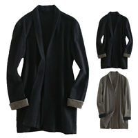 Men's Linen Cotton Japanese Long Sleeve Cardigan Top Cape Blazes Shirt Autumn UK