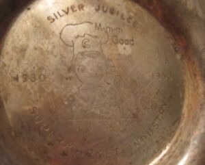 Old Advertising Campbells Ashtray Silver Jubilee Supermarket Industry 1930-1955