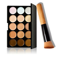 15 Colors Womens Face Contour Cream Concealer Palette+Brush Makeup Cosmetic Tool