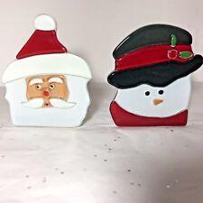 Partylite P9466 Tea Light Candle Holder Set Santa & Snowman Euc