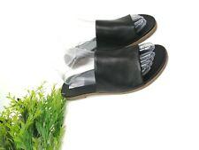 STEVE MADDEN Women's Karolyn Black LEATHER SLIP-ON FLAT SANDALS US 9.5
