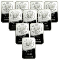 Lot of 10 Sunshine Minting, Inc. 1 Troy Oz .999 Fine Silver Bar SKU33422