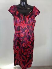 WOMENS MINUET FLORAL RED SILK FORMAL DRESS LIGHTWEIGHT UK SIZE 12
