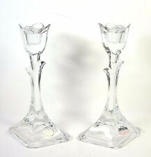 """Crystal Clear Lead Crystal Tulip Candle Holders Pair 8"""""""