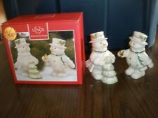 New Lenox Happy Holly Days Decorate The Tree Snowman Salt And Pepper