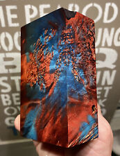 Stabilized & Dbl Dyed Box Elder Burl Knife Block    4.35 x 2.45 x 1.70    (5162)