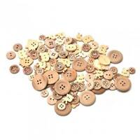 100pcs/lot Natural Color Mix Shape Wooden Pattern Wood Sewing Buttons 2 Holes_