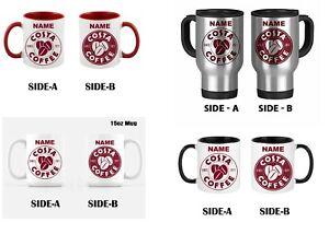 COSTA COFFEE Personalised Travel Mug Cup. YOUR NAME Printed MUG CUP