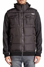 English Laundry Knit Sleeve Quilted Puffer Jacket Zip XL Charcoal Hooded NWT