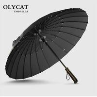 Pro. Men 24K Strong Windproof Glassfiber Frame Wooden Long Handle Rain Umbrella