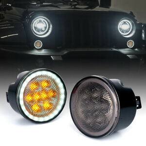 LED Amber Turn Signal Light with Smoke Lens &Halo DRL for 07-18 Jeep Wrangler JK