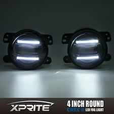 "Xprite 4"" G2 Round CREE LED 60W Fog Light with DRL for 97-17 Jeep Wrangler JK TJ"