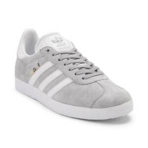 NEW Womens adidas Gazelle Athletic Shoe Gray White Suede