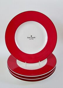 "Kate Spade New York Red Rutherford Circle 9.5"" Salad/Dessert Plates Set 4 NWT"