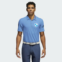 Men's Blue Golf Polo PGA sponsor logo BMW, Rolex, Oracle, Uber