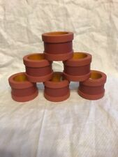 VILLEROY & BOCH NAPKIN RINGS Set Of 6 Red Bamboo Or Wood Made In India