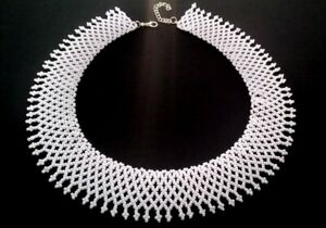 Dissent collar necklace RBG necklace White beaded necklace handmade white jewelr