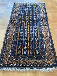 Wunderschöne Handgeknüpfte Afghane  Carpet Baluch Rug Ca 50X100 cm