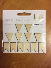 Kaisercraft wooden flourishes, Pennants, for craft, scrapbooking