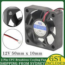 12V 50mm x 10mm 2 Pin CPU Brushless Cooling Fan PC Cooler Heat Sink Black RPM SC